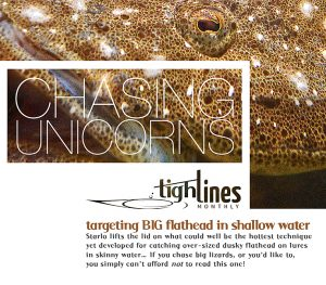 "Title image of monthly magazine ""Tight Lines"" featuring article about targeting big flathead in shallow water"
