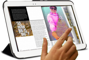 a tablet with the Tight Lines Monthly flip magazine showing © Fishotopia