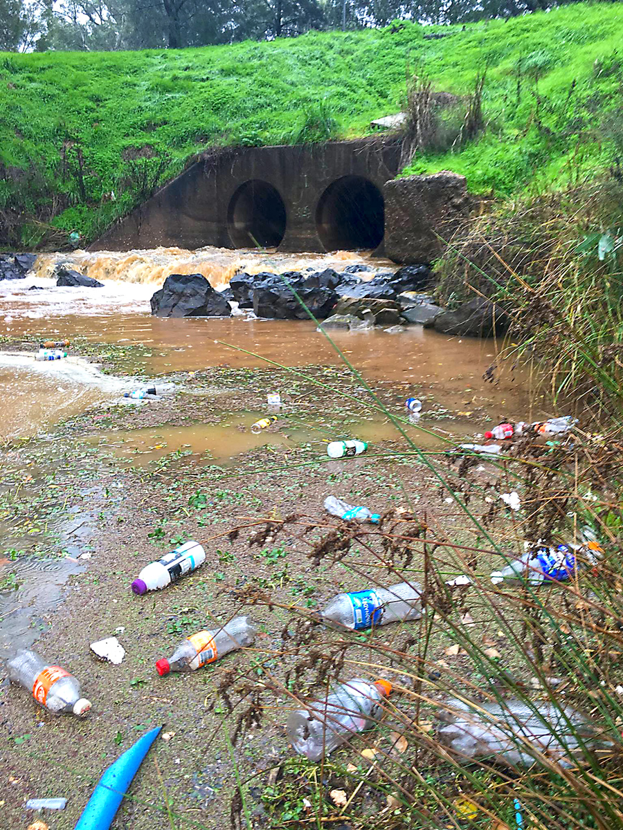 Litter flows along gutters, down drains, through the stormwater facilities and out into the environment.