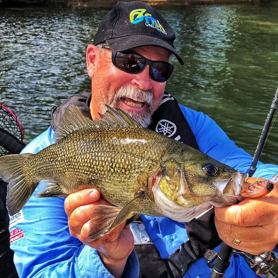 Steve Starling shows off a healthy Australian bass before release. Note the OzFish Unlimited hat... Starlo is a proud ambassador.