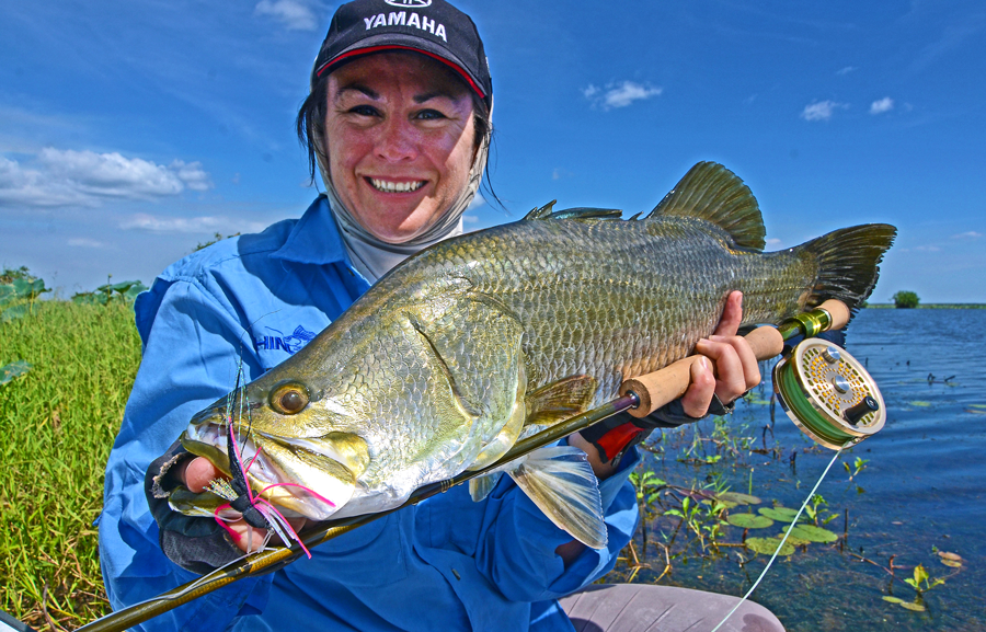 This 64cm barra is the largest Jo Starling has caught on fly, as at the date of publishing.