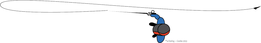 Step 5 of the Belgian Cast, illustrated by © Jo Starling. Make a slightly upward forward stroke, allowing the wind to take your fly up and away. The path that the line travels should be under the rod tip on the back cast and over the rod tip on the forward cast.
