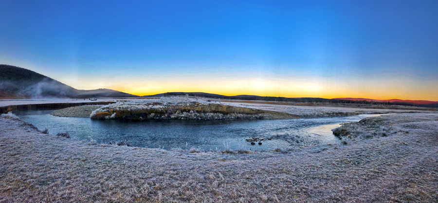 Steam rises with the sun over the Eucumbene River, as the first chills of winter finally settle on the high country.
