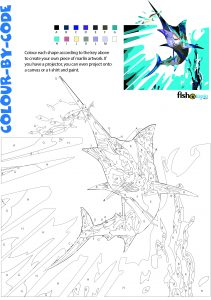 fishotopia kids fishing activity - colour by code marlin - colour key