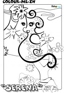 fishotopia kids fishing activity - colour me in - Serena the seahorse
