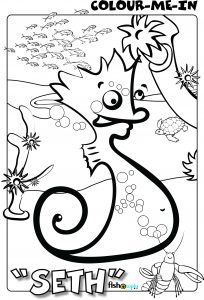 fishotopia kids fishing activity - colour me in - seth the seahorse