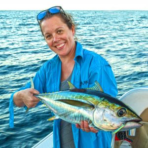 Amy Hoole with tuna caught at Coffs Harbour