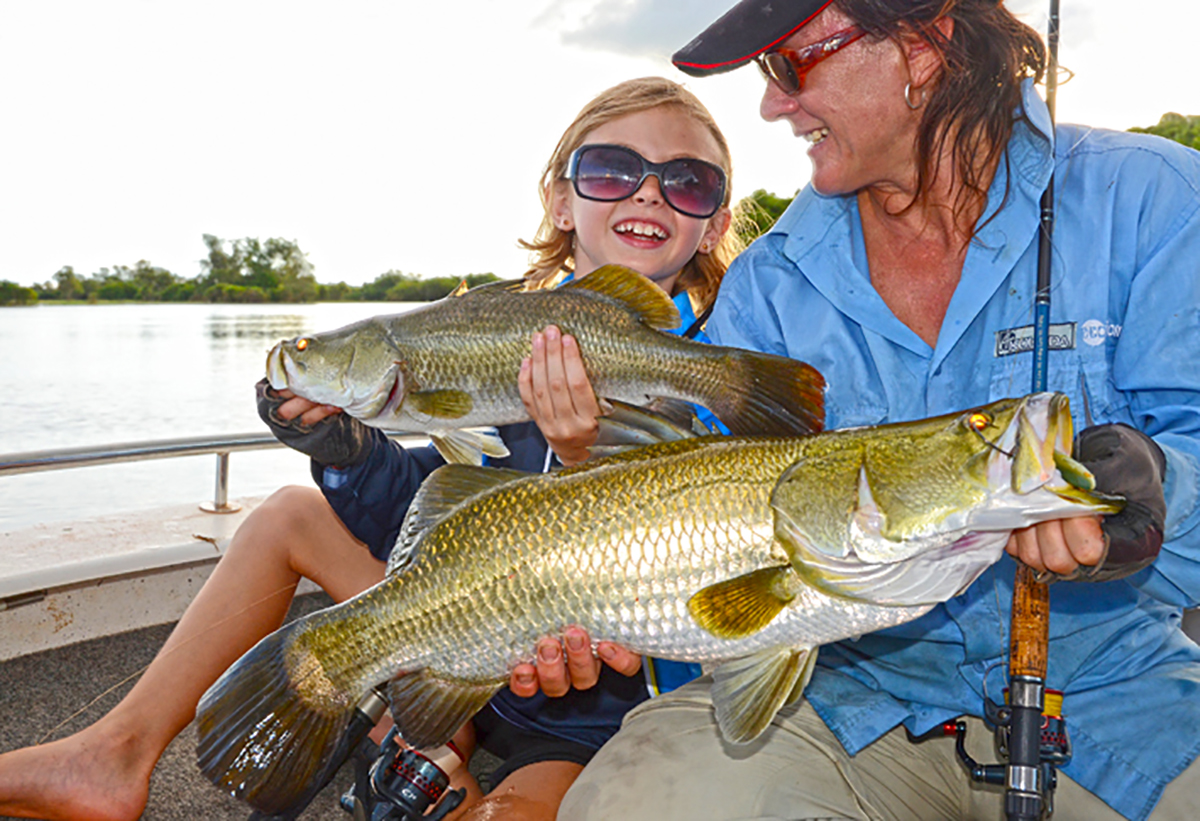 Mother and daughter double hook-up on Corroboree Billabong.
