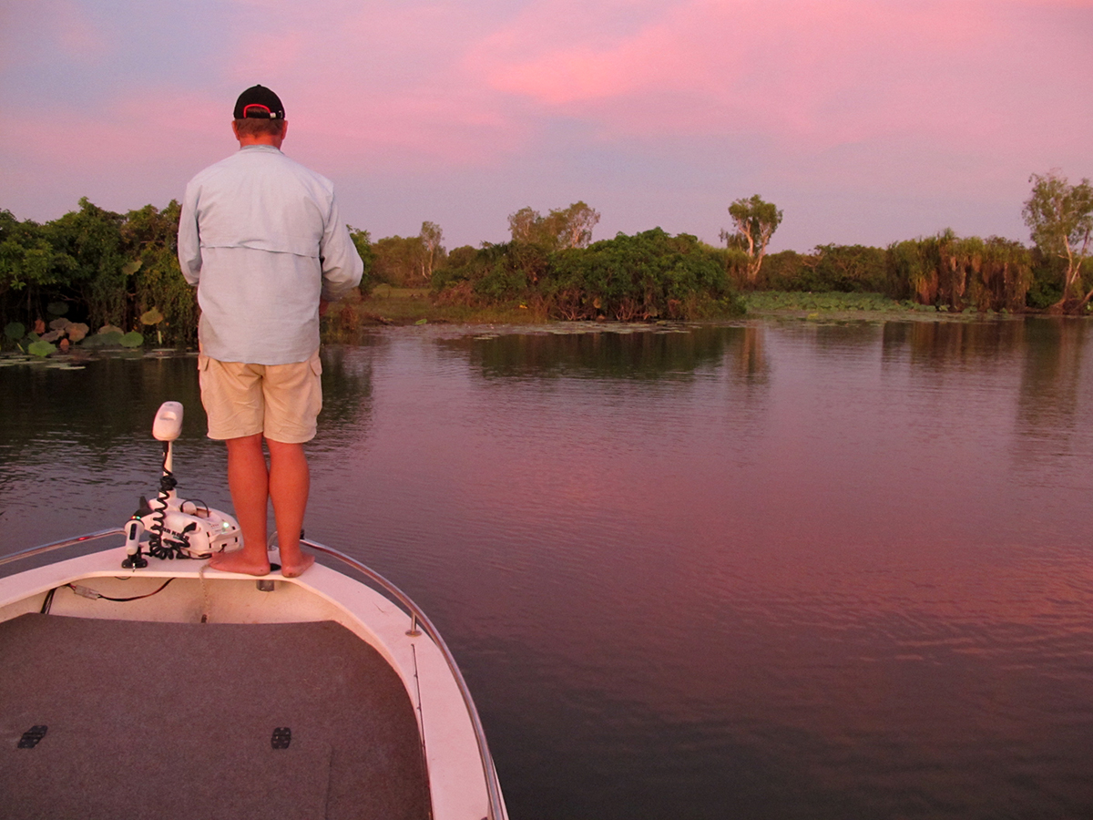 Starlo sneaks out for a sunset flick on Corroboree Billabong.