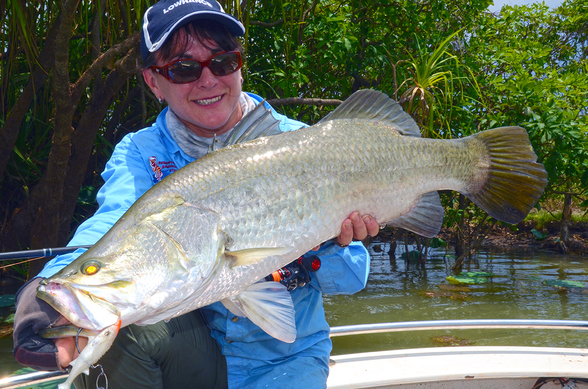 Jo with a large barramundi from Corroboree Billabong in the NT.