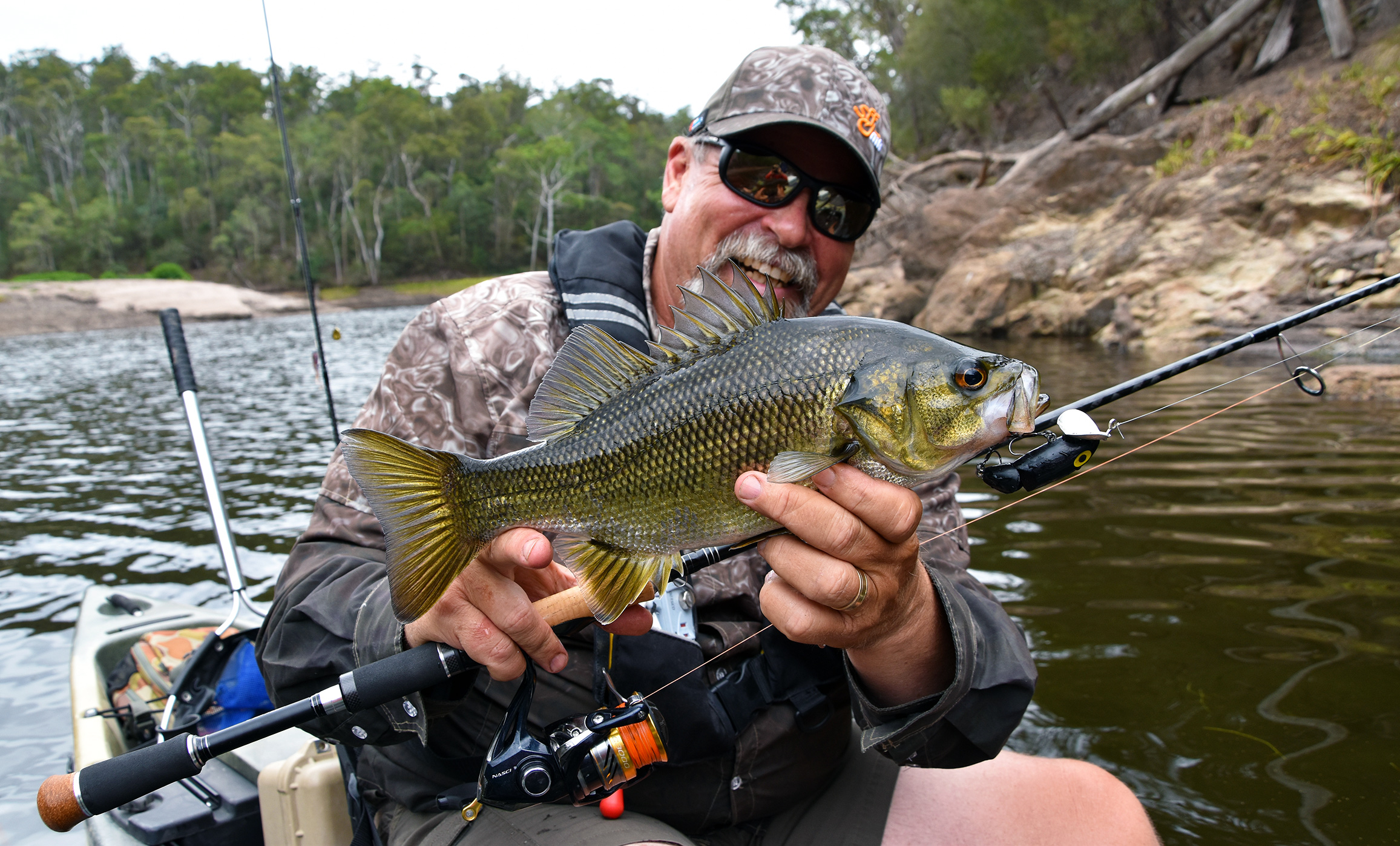 Starlo with a better-than-average Brogo Dam bass taken on a classic old surface lure. Despite their often modest size, the fish in this little lake punch well above their weight, so don't go under-gunned!